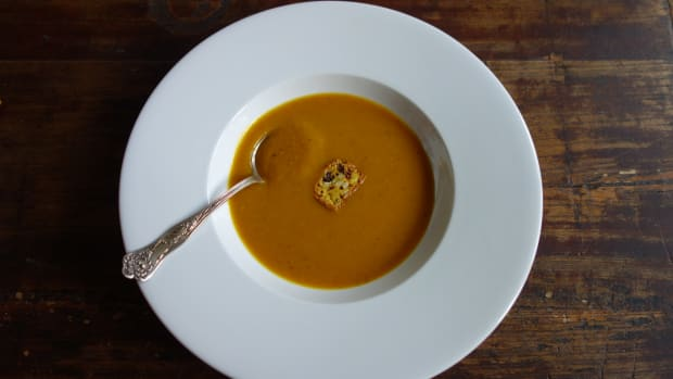 Spicy Roasted Pumpkin Soup Recipe with Leek