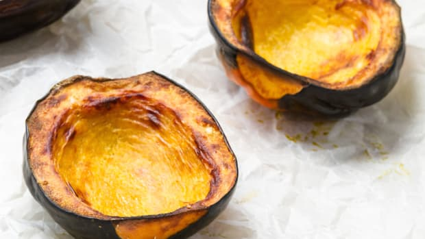 Roasted Acorn Squash Stuffed Farro Recipe with Fennel and Feta