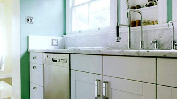 Kitchen sink and counters.