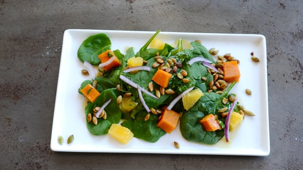 baked squash and spinach salad recipe