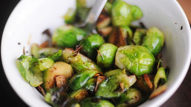 brussels sprouts and garlic chips