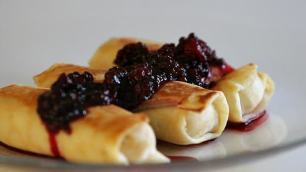 cheese blintzes with blackberries