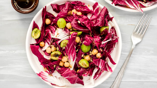 Vegan Radicchio Salad with Green Olives, Chickpeas, and Balsamic Dressing