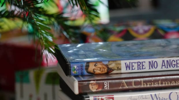 A stack of holiday movies.