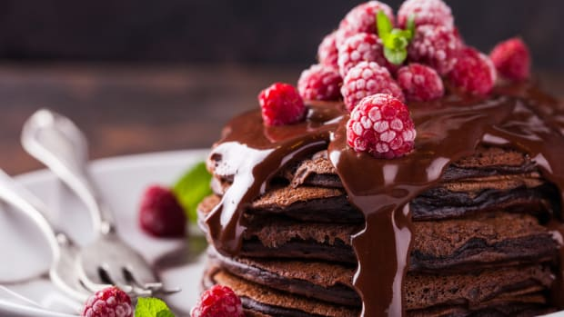 Gluten-free vegan chocolate pancakes recipe