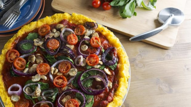 Flourless Vegan Polenta Pizza with Roasted Vegetables