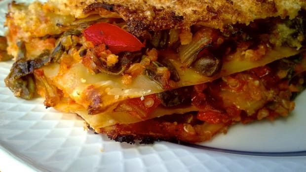 Healthy recipes are fun to make: like vegan lasagna.