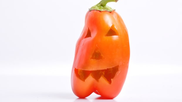 Festive Halloween-Themed Stuffed Red Bell Pepper Jack-O'-Lanterns Recipe