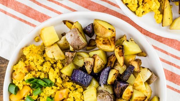 Vegan Tofu Scramble with Breakfast Potatoes