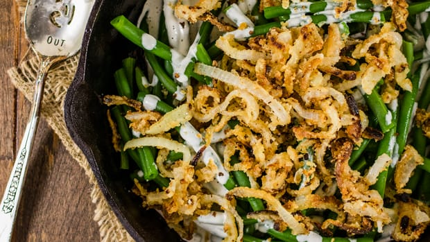 Vegan Green Bean Casserole with Gluten-Free Crispy Fried Onions