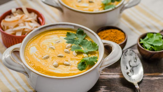 Vegan Creamy Curried Butternut Squash Soup with a Secret Ingredient