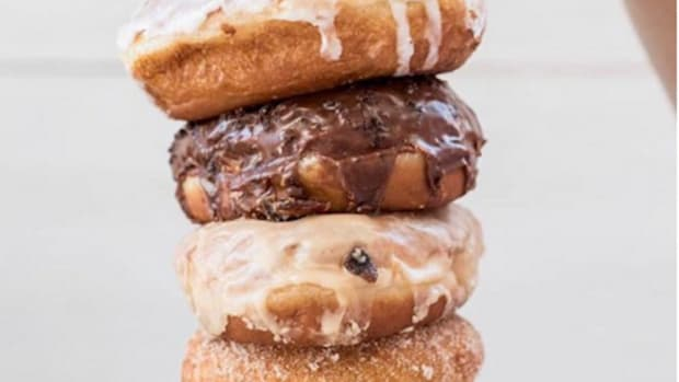 Stack of vegan doughnuts