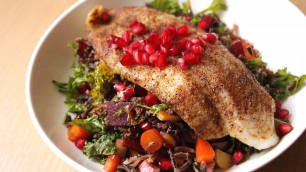 blackened fish with salad