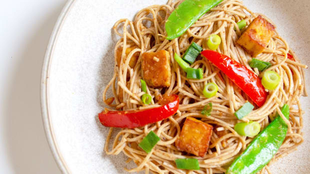 Soba Noodle Stir Fry with a Miso-Almond Butter Sauce