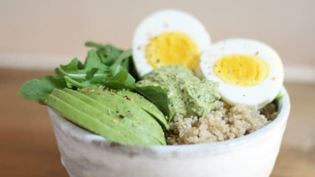 breakfast bowl with magic green sauce