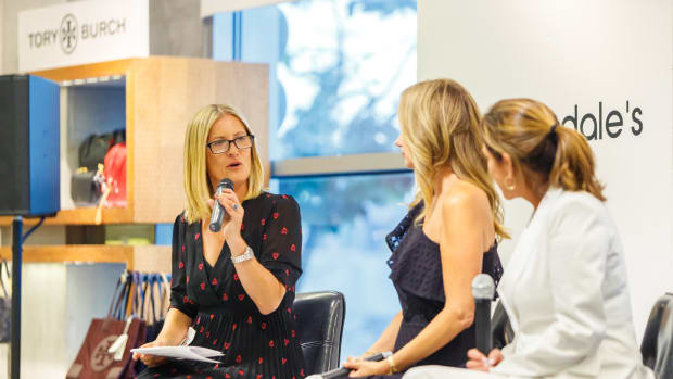 Justine Lassoff leading panel discussion at Bloomingdales