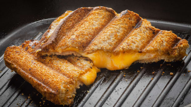 melted grill cheese on grill pan