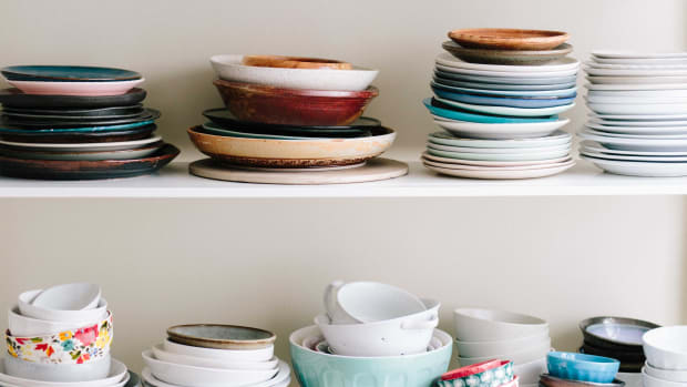 stacked kitchen dishes clutter