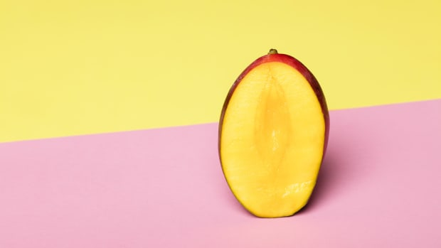 mango on pink and yellow background