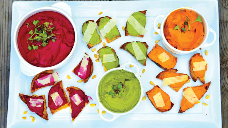 3 Hummus-Style Recipes with Crusty Toast (Beet, Carrot, and Pea Veggie Spreads)