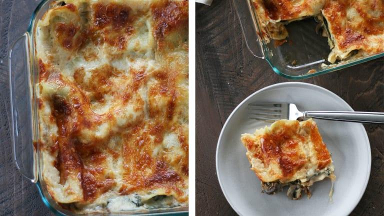 Spinach and Mushroom Vegetarian Lasagna With Organic Cheese