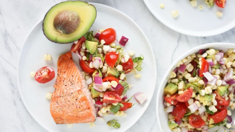 Baked Wild Salmon With a Zesty Tomato, Avocado, and Corn Salad