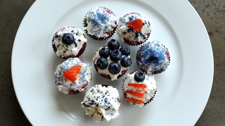 4th of July Desserts Solved: Red Velvet, White and Blue Mini Cupcakes