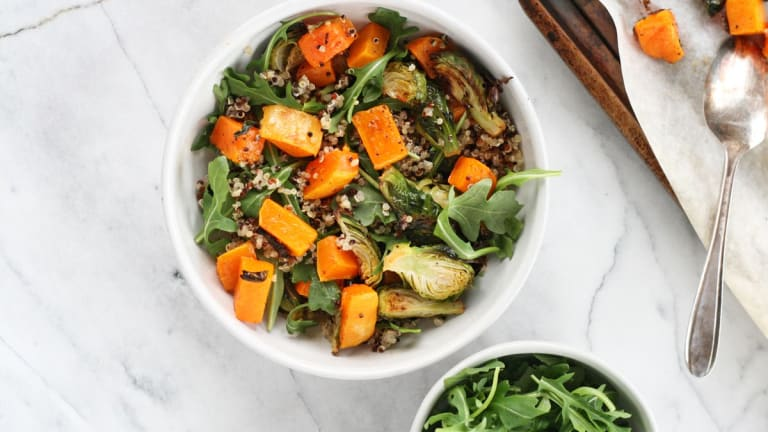 Hearty and Warm Butternut Squash and Brussels Sprouts Quinoa Salad