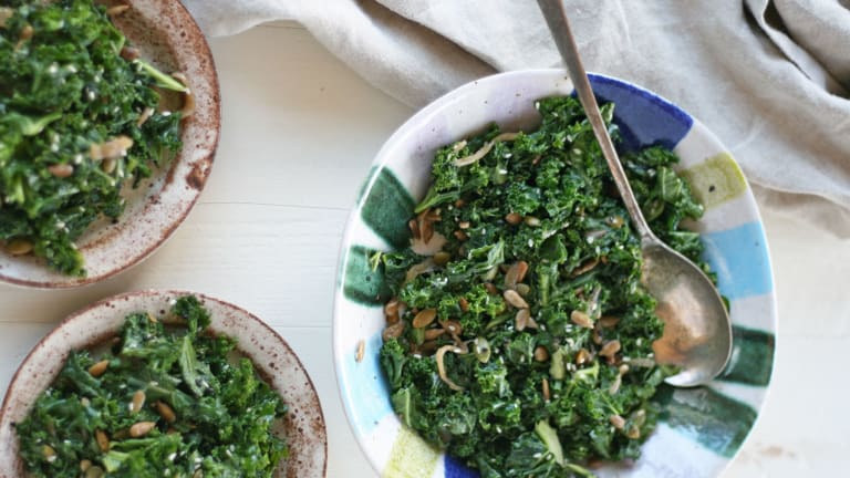The Very Best Vegan Kale Caesar Salad with Pumpkin Seeds and Caramelized Onions