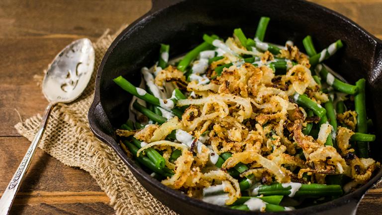 Vegan Green Bean Casserole With Crispy Gluten-Free Fried Onions