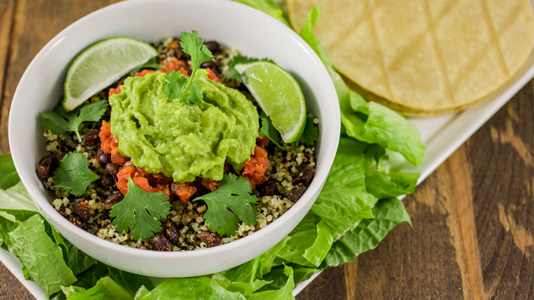 The Best Vegan Burrito Bowl Ever, with Spiced Black Beans, Quinoa & Guacamole