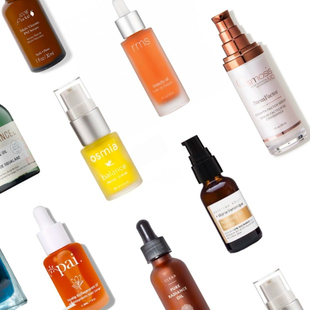 natural face serums on white background