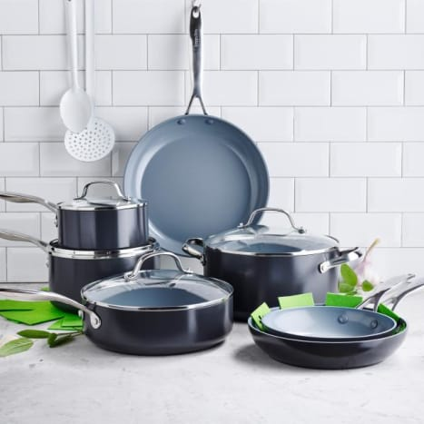 The highly reviewed GreenPan Valencia Pro Set includes Thermolon Minerals non-stick coating that is free of PFAS, PFOA, lead, and cadmium. This set is suitable for use with metal utensils, dishwasher safe (hand wash recommended), and compatible with all stove tops (including induction). This exclusive 13-piece set on Bloomingdales is a great value - currently you can save $170 automatically which is applied into your shopping cart.
