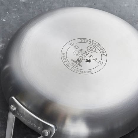 Completely PFOA-and PFOS-free, the ScanPan CS+ collection boasts Stratanium+, its second generation nonstick surface that doesn't blister, peel or scrape away, even when using metal utensils. Unlike lower end nonstick pans, Scanpan can be used for browning, searing and deglazing. Great for cooks just starting out or experienced chefs upgrading an existing collection. Product Specs:Free of PFOA and PFOsDishwasher safe (we recommend hand washing)Five-layer clad-aluminum constructionBrushed stainless steel exteriorDistributes heat quickly and evenly and boasts superb heat retentionHandles are redesigned to stay cooler Compatible with all cooking surfaces, including induction, and oven safe to 500°FLifetime Warranty