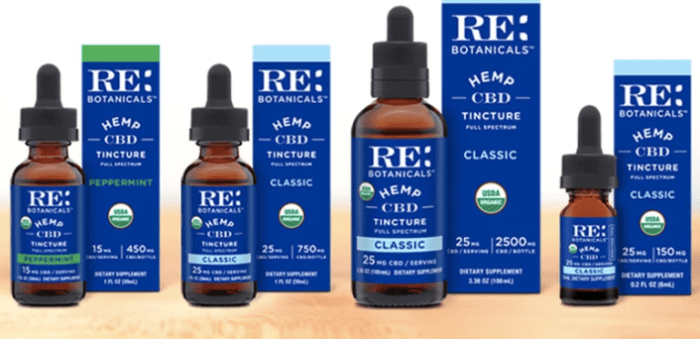 RE Botanical's easy-to-take CBD tinctures are U.S. grown and made with high quality, clean USDA certified organic hemp and certified organic MCT coconut oil. The peppermint flavored tinctures also use USDA certified organic peppermint oil. All products are 3rd party lab tested for heavy metals, solvents, and pesticides, to ensure purity.Shop RE Botanicals Hemp Tinctures:The 150mg bottle - six servings containing 25mg of CBD The 750mg bottle - thirty servings containing 25mg of CBDThe 1500mg bottle - thirty servings containing 50mg of CBDThe 5000mg bottle - one hundred servings containing 50 mg of CBD