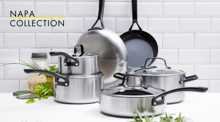 """The Napa Collection boasts GreenPan's latest iteration of ceramic nonstick coating called Thermolon Diamond-Advanced. It's dishwasher (easy to hand wash), oven safe (up to 600°F), and metal utensil safe. If you are looking for a nonstick cookware set that is versatile and hardy while extremely easy to clean, then this is what you've been looking for. The core of this set is crafted from tri-ply stainless steel and is finished with GreenPan's Evershine finish, which prevents discoloration and stains that are common to stainless steel.Sale Alert! Use code NAPA20 to get 20% off the Napa Collection + Free ShippingShop Now: Full Collection 