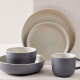 Available in black, Gray Fog (displayed), white, and pink. This collection was designed exclusively for West Elm by Aaron Probyn. It's sold in sets of 4 to 20. TheKaloh Dinnerware Collection isIt's slightly textured with a matte finish on its outside and a contrasting translucent finish on its inside. This collection is casual enough for everyday dining yet elevated in its design to make a striking style statement on special occasions. Get it here.