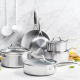 "This is the latest and greatest cookware set from GreenPan. It features a stylish stainless steel exterior that is enforced with GreenPan's ""Evershine"" technology to avoid discoloration and keep it looking new. The interior is coated with Thermolon Minerals Pro, now metal utensil safe and lasts even in the face of intense use and cleaning. Use code SHOPSF at checkout for $50 off. This set includes: 8"" open frypan10"" open frypan, 3qt covered skillet, 5qt covered casserole with 2 spouts and straining lid1.5qt covered saucepan3qt covered saucepan."