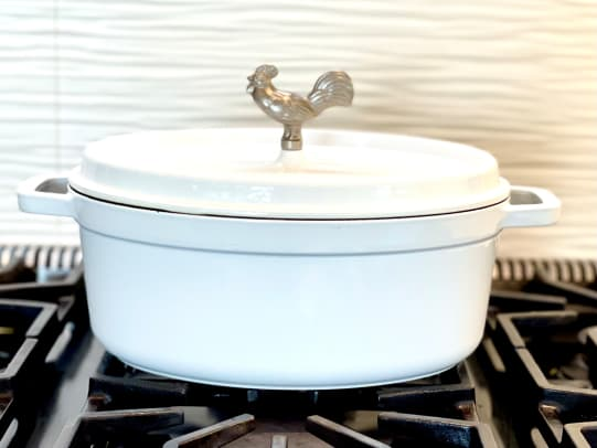 White-Oval-Staub-Cocotte-Rooster