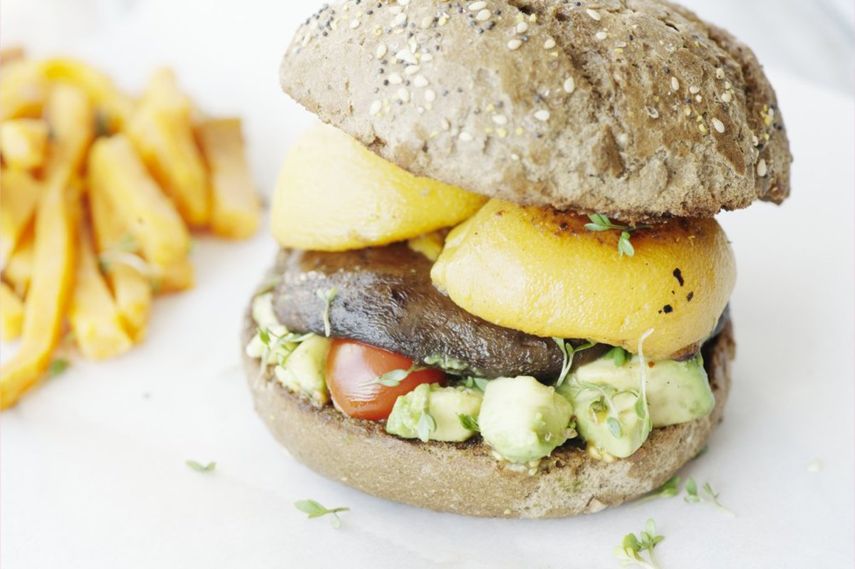 portobello peach burger