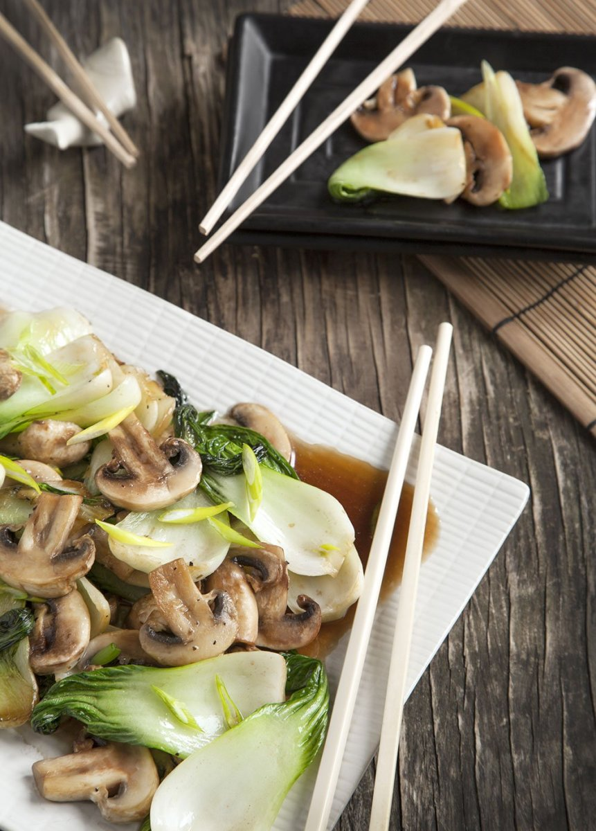mushrooms with bok choy