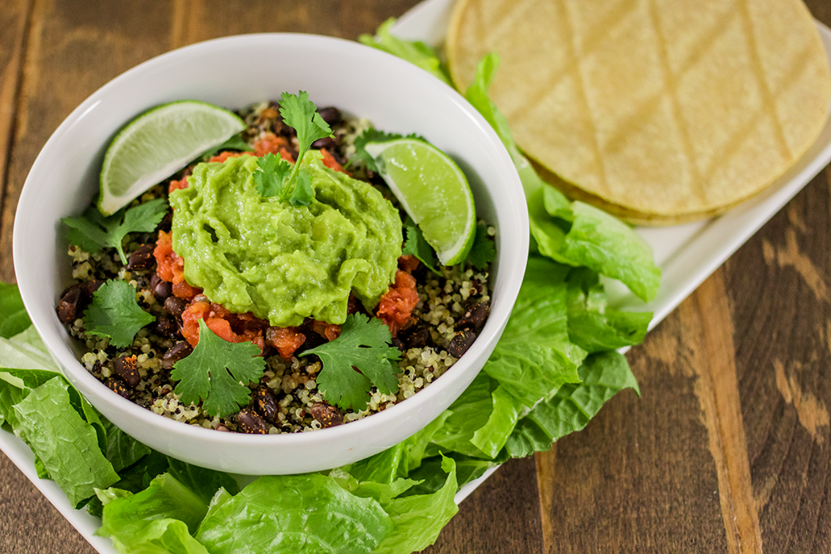 Burrito Bowl with Spiced Black Beans and Quinoa Recipe
