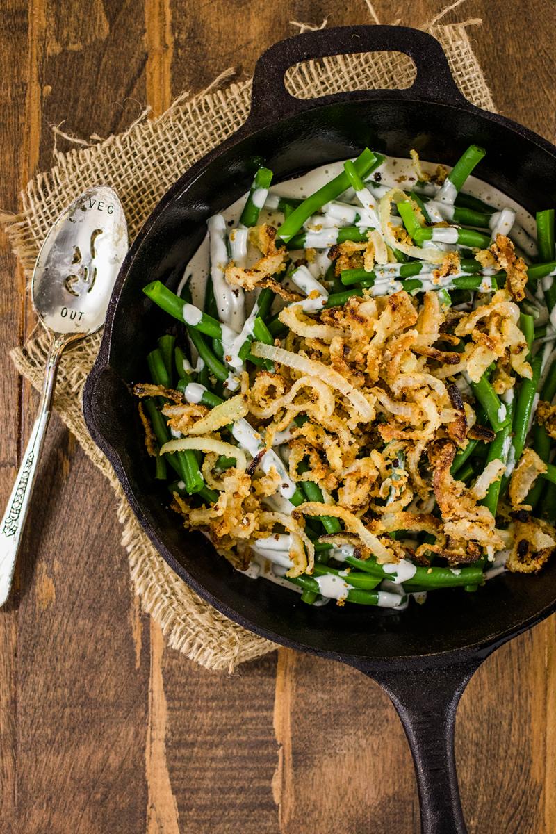Vegan Green Bean Casserole with Gluten-Free Crispy Fried Onions