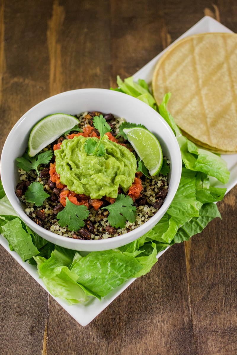 Burrito Bowl with Spiced Black Beans and Quinoa Recipe
