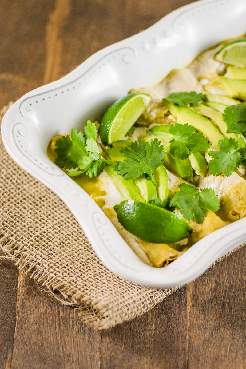 Vegan Enchiladas with Green Sauce, Cashew Cream, and Cilantro Lime Tofu