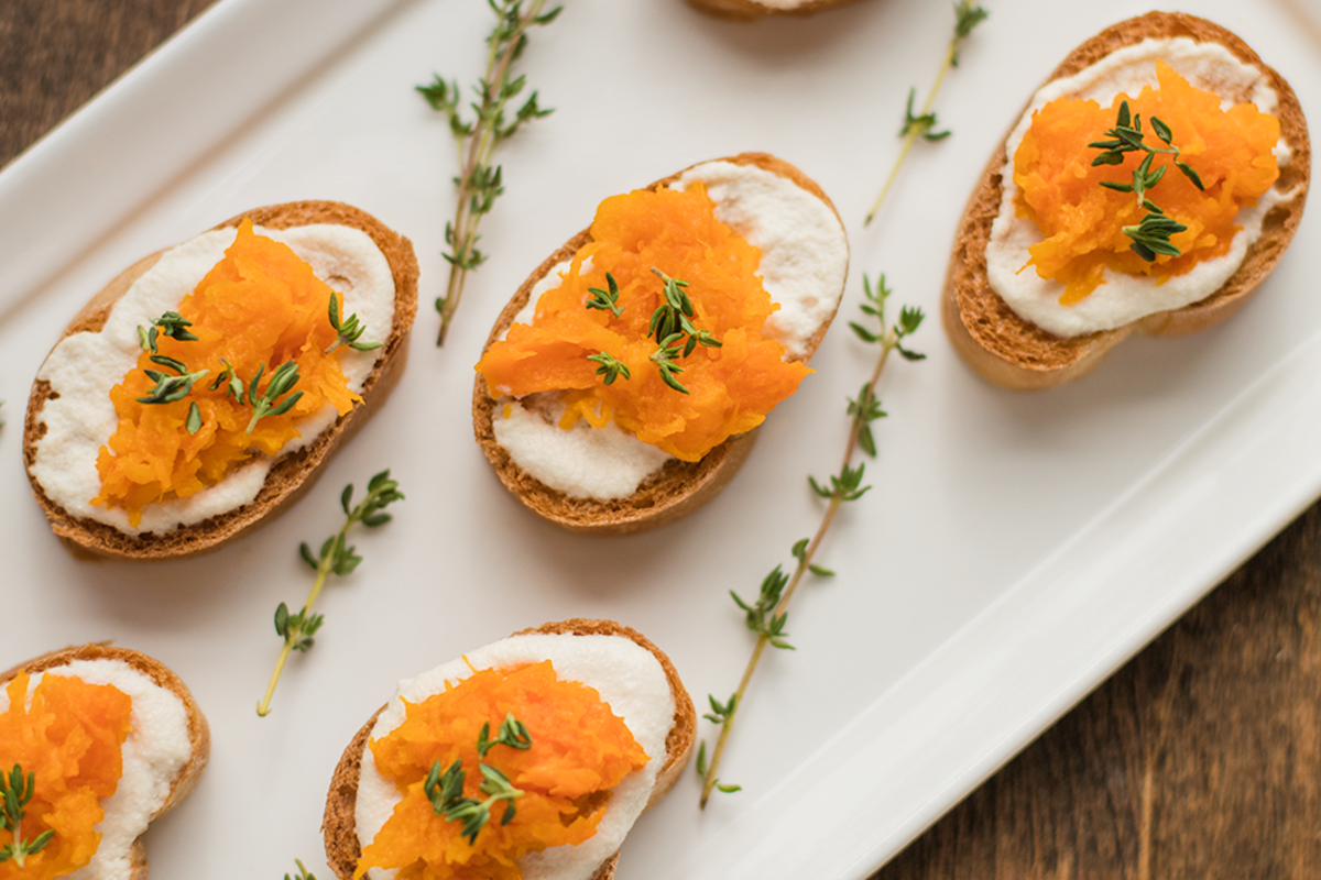 Butternut Squash, Cashew Cheese, and Thyme Crostini Recipe