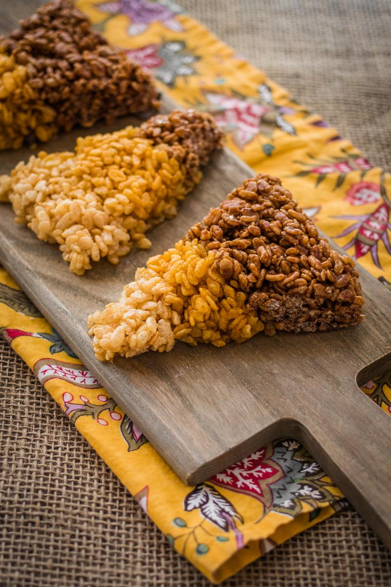 Halloween Vegan Candy Corn Rice Crispy Treats