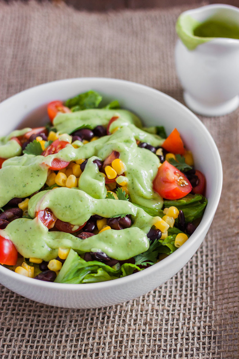 Black Bean and Corn Salad Recipe with Creamy Avocado Dressing