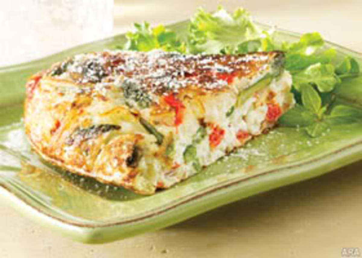 asparagus, red pepper and potato frittata