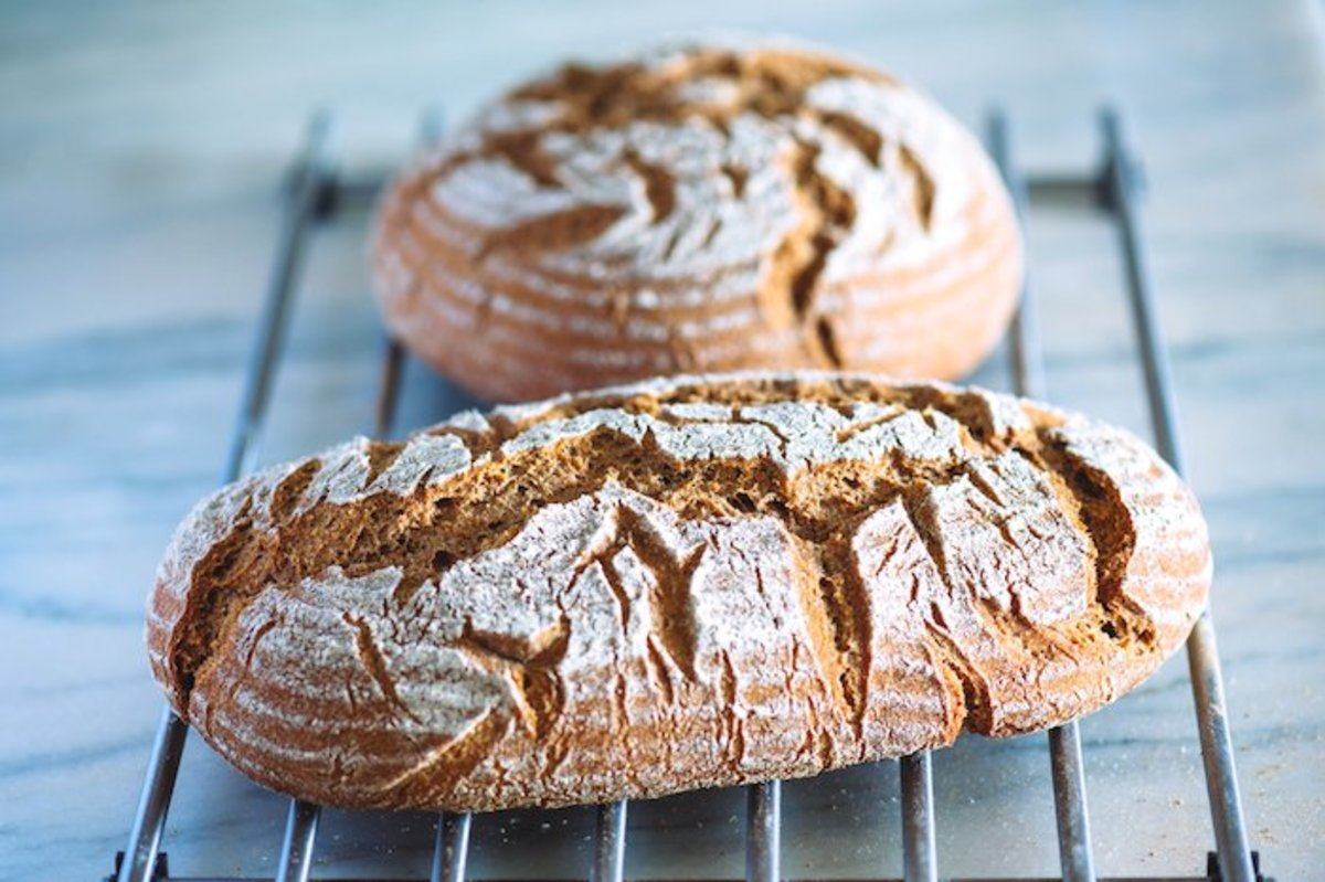 Rye and Whole-Wheat Flour Sourdough Vegan Bread Recipe